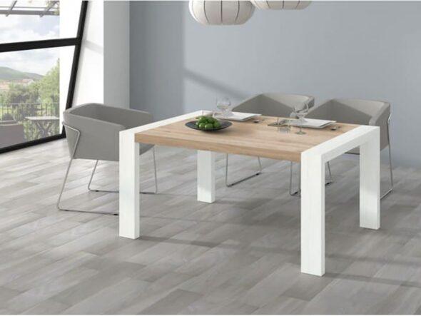 Mesa de comedor Ramis en natural y blanco
