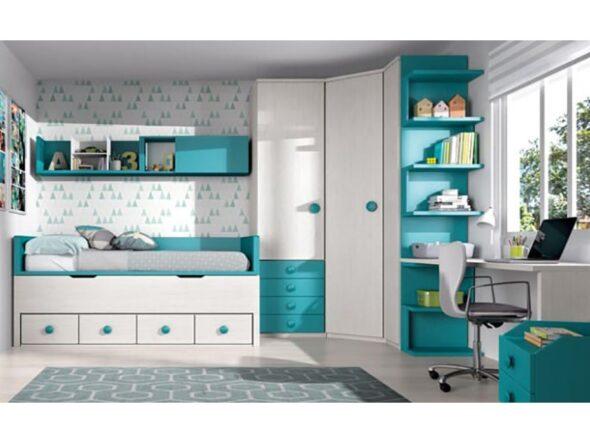 Dormitorio juvenil Glicerio Chaves formas 19 armario rinconero