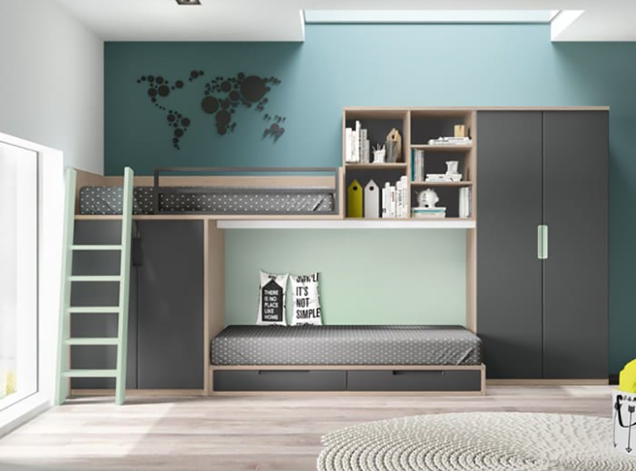 Dormitorio juvenil con literas tipo tren Aire 214 - Glicerio Chaves