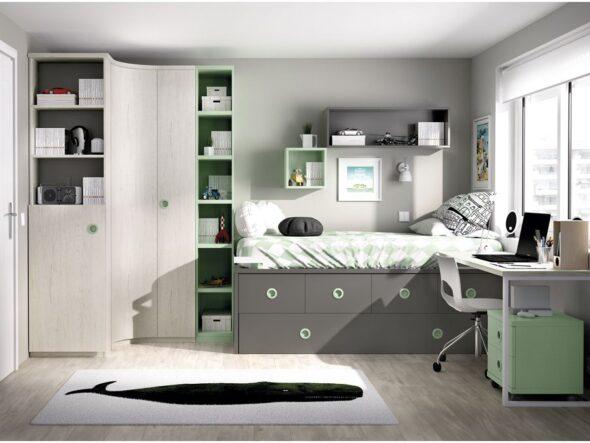 Dormitorio juvenil cama compacta alta Jumpy 110 - Rimobel