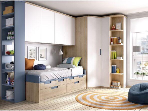 Dormitorio juvenil con puente y armario rinconero