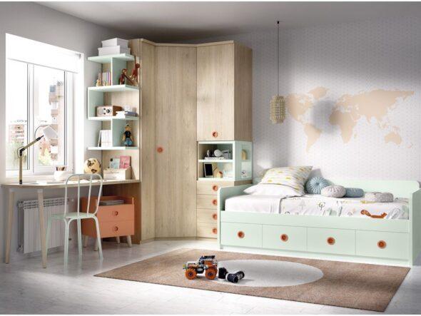 Dormitorio con armario de rincón Rimobel