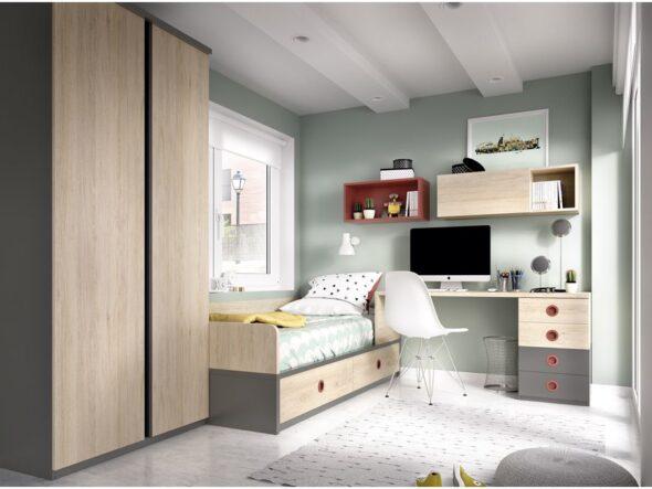 Dormitorio para joven en color natural