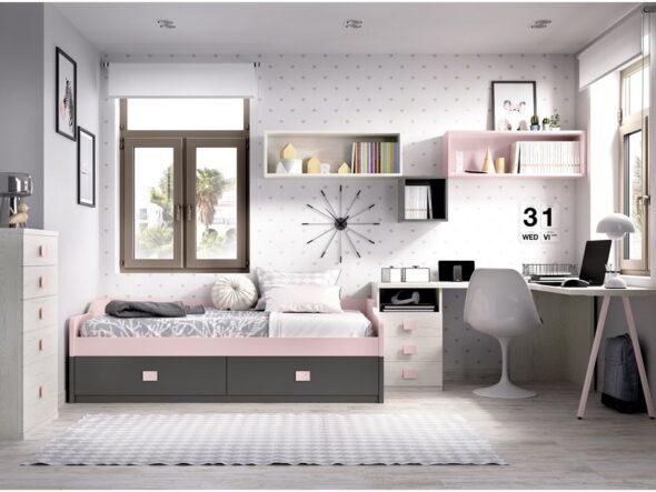 Dormitorio juvenil con cama baja Rimobel