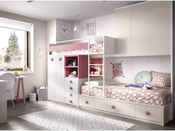 Dormitorio cama tren con puente Rimobel