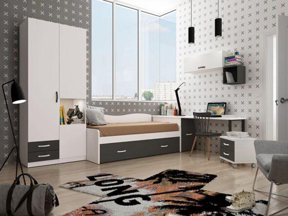 Dormitorio Juvenil con cama nido azor costa 19