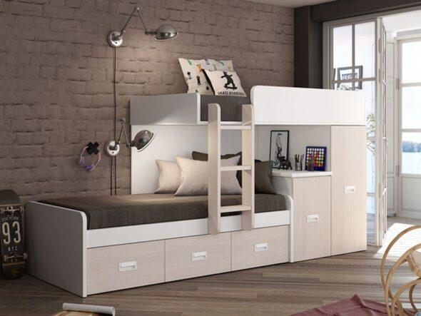 Dormitorio Juvenil cama tren barato azor lider 19