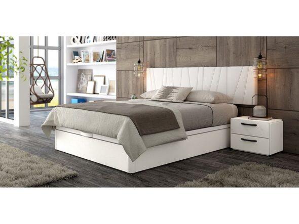 Dormitorio con cabezal tapizado urban