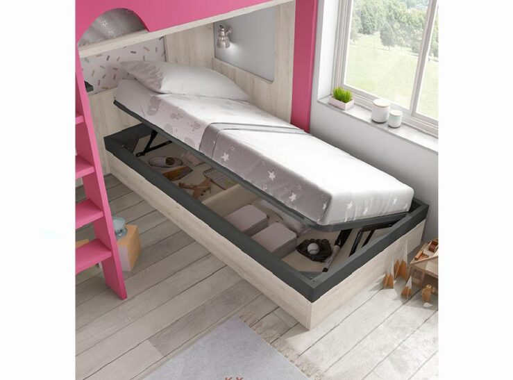 dormitorio juvenil con litera y canapé Aire 208