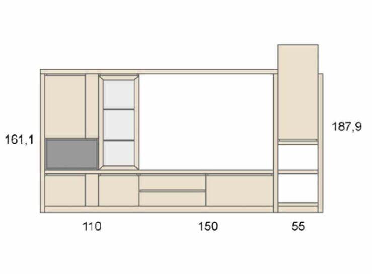 Medidas composición salón Baixmoduls Duna 01