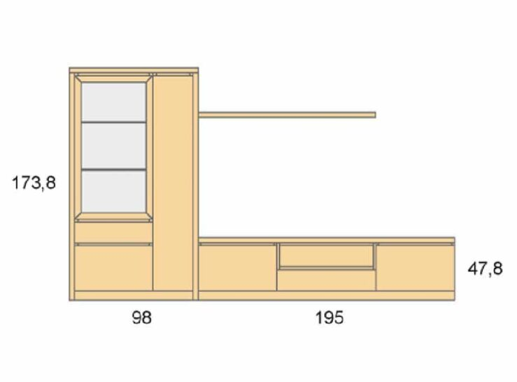 Medidas composición salón Baixmoduls Duna 02