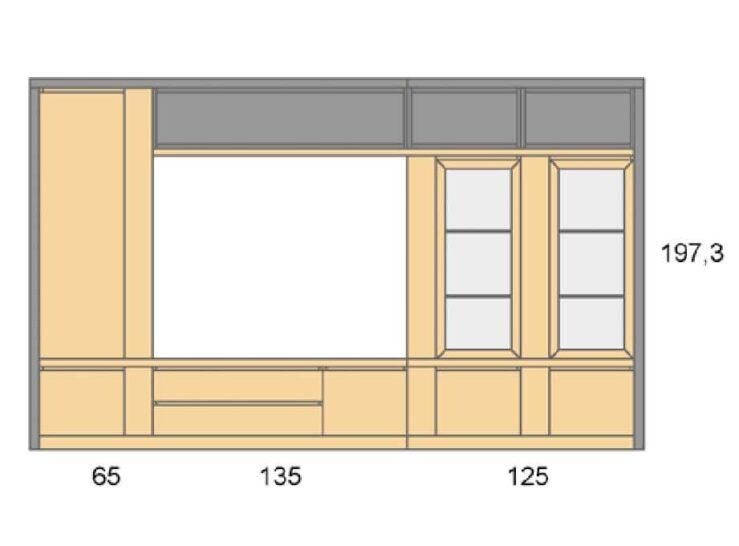 Medidas composición salón Baixmoduls Duna 11