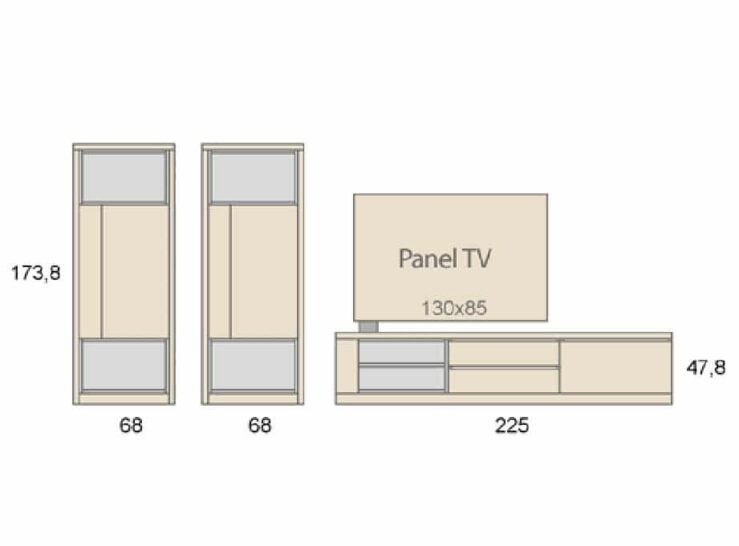 Medidas composición salón Baixmoduls Duna 12