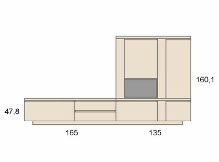 Medidas composición salón Baixmoduls Duna 13