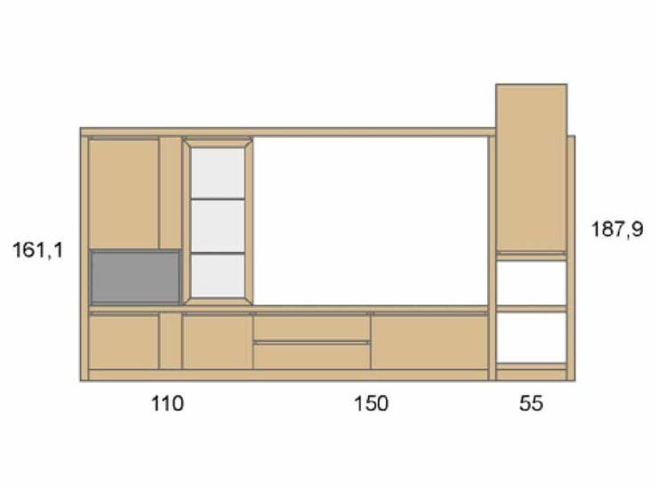 Medidas composición salón Baixmoduls Duna 14