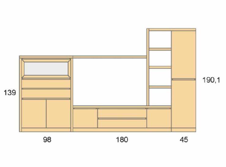 Medidas composición salón Baixmoduls Duna 15