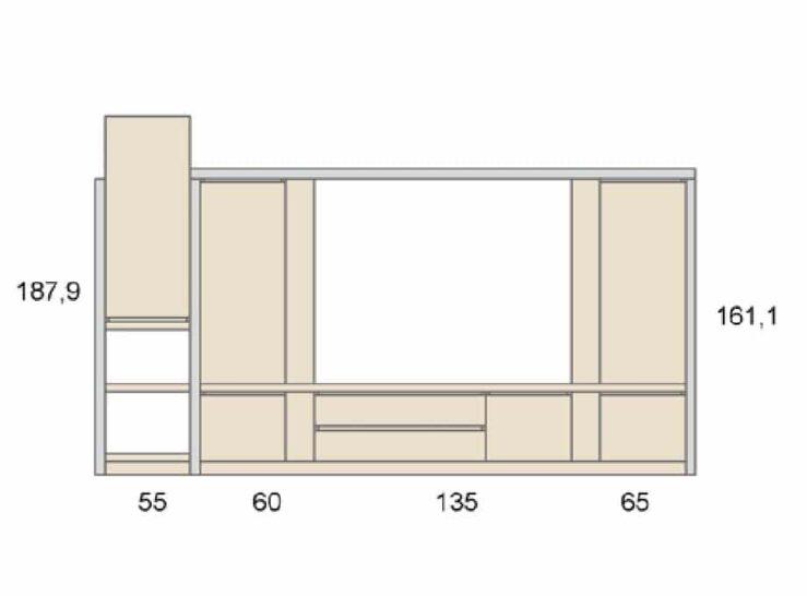 Medidas composición salón Baixmoduls Duna 16