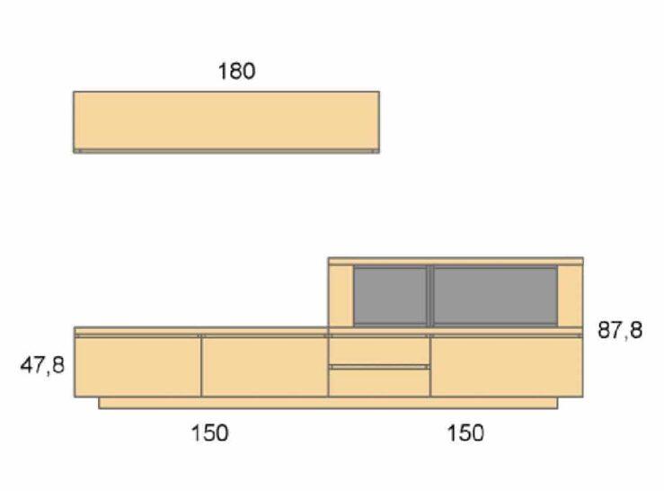 Medidas composición salón Baixmoduls Duna 17