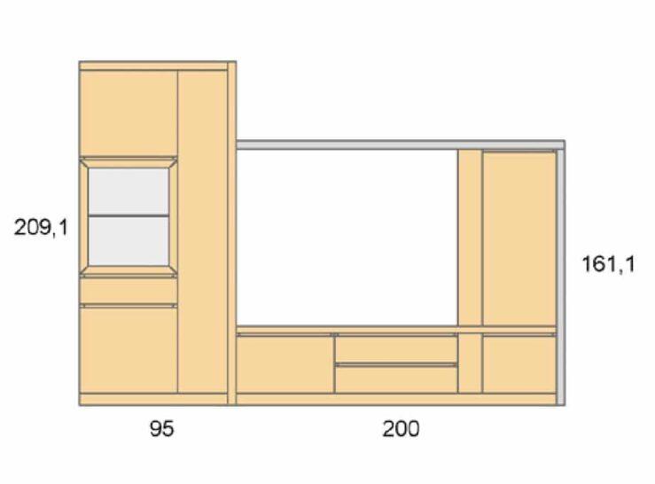 Medidas composición salón Baixmoduls Duna 18