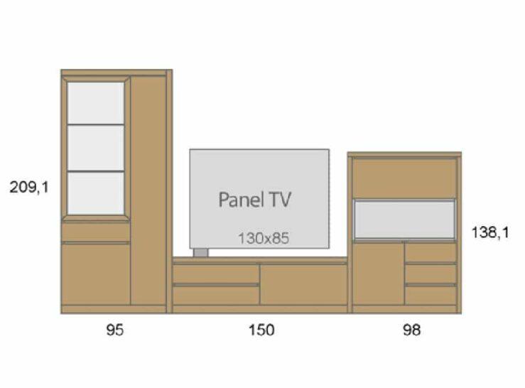 Medidas composición salón Baixmoduls Duna 19