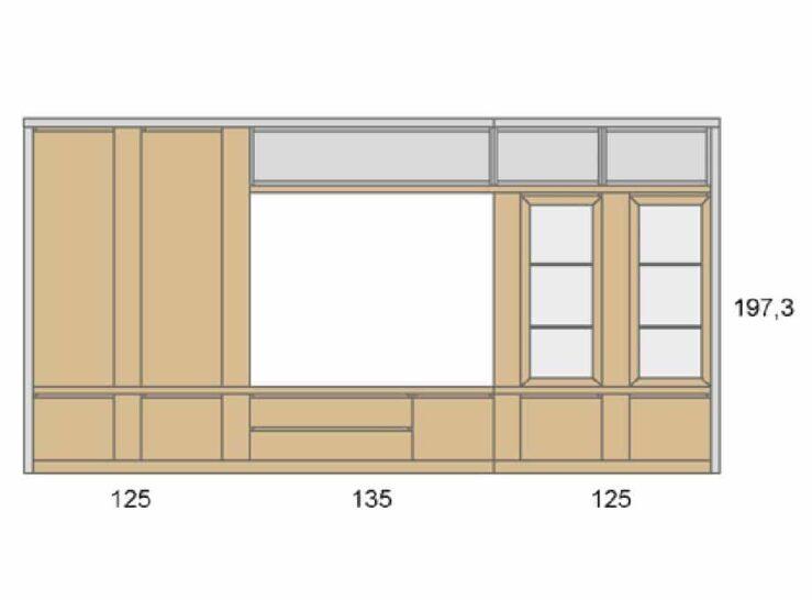 Medidas composición salón Baixmoduls Duna 20