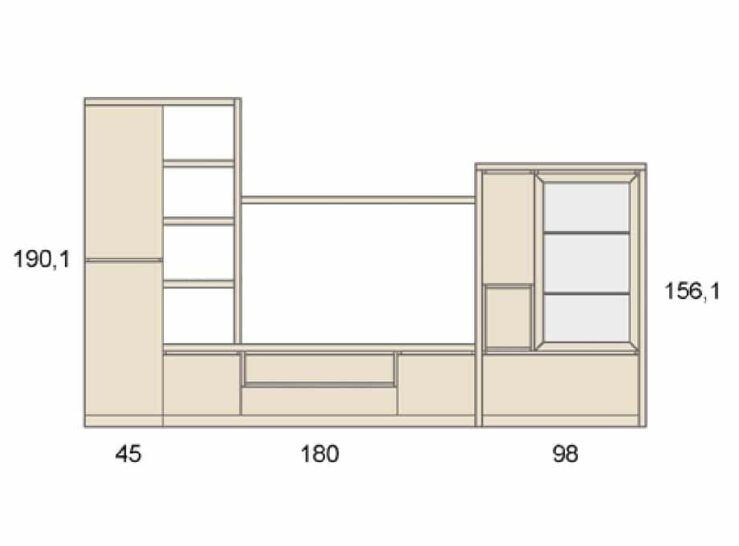 Medidas composición salón Baixmoduls Duna 22