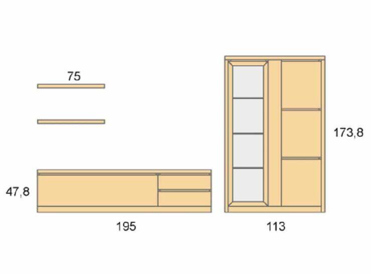 Medidas composición salón Baixmoduls Duna 23