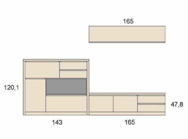 Medidas composición salón Baixmoduls Duna 24