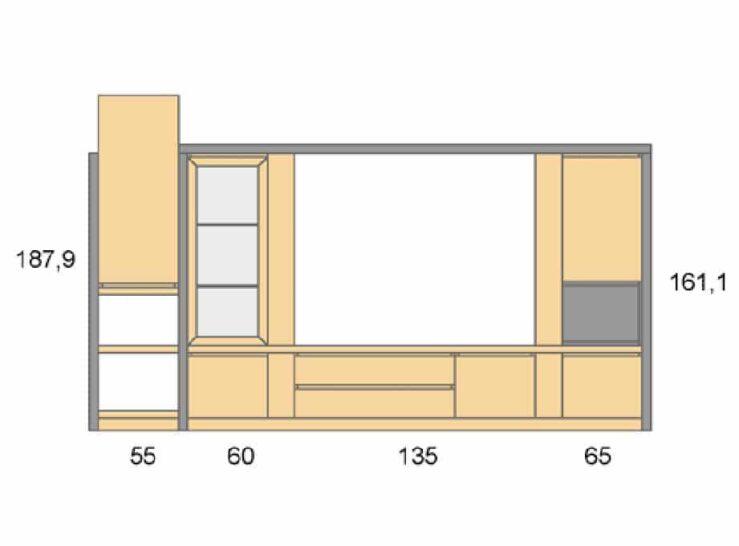 Medidas composición salón Baixmoduls Duna 25