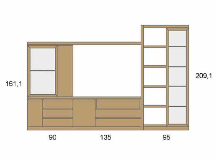 Medidas composición salón Baixmoduls Duna 26