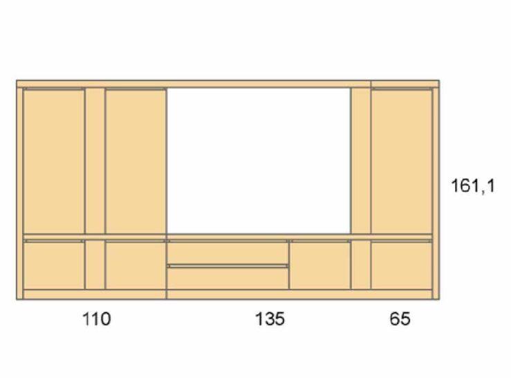 Medidas composición salón Baixmoduls Duna 28