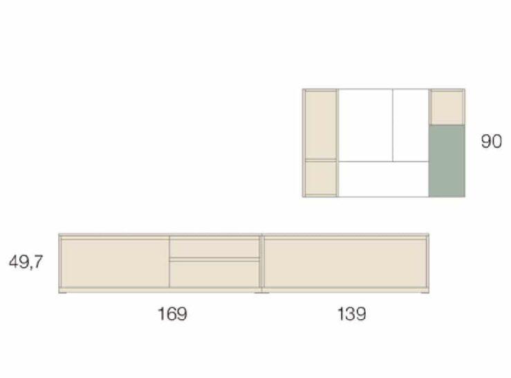 Medidas composición salón Baixmoduls Kay 03