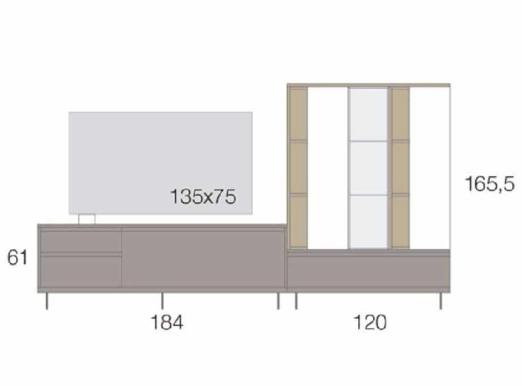 Medidas composición salón Baixmoduls Kay
