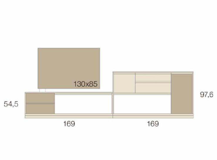 Medidas composición salón Baixmoduls Kay 25