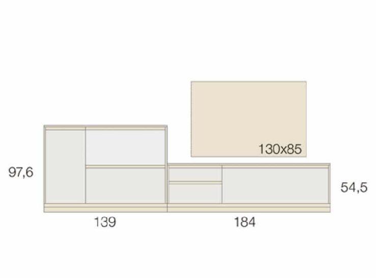 Medidas composición salón Baixmoduls Kay 29