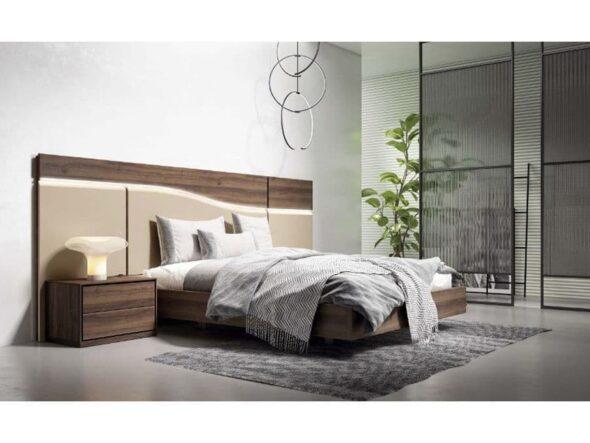 Dormitorio moderno en nogal y lacado
