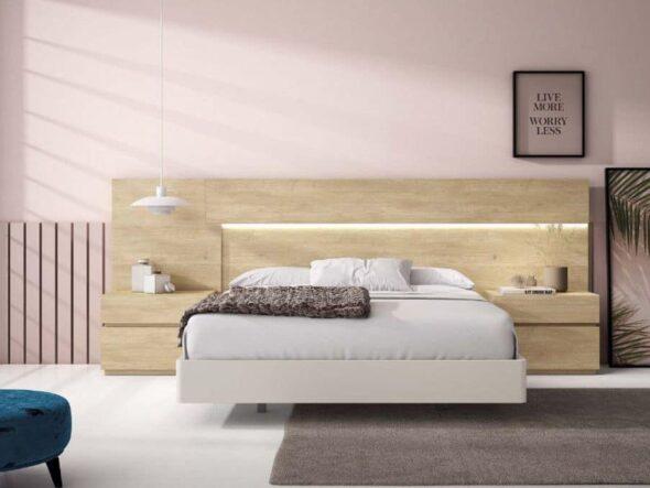 Dormitorio de matrimonio con leds en color roblerus