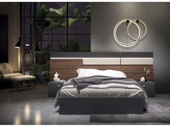 Dormitorio en color nogal coco y pizarra