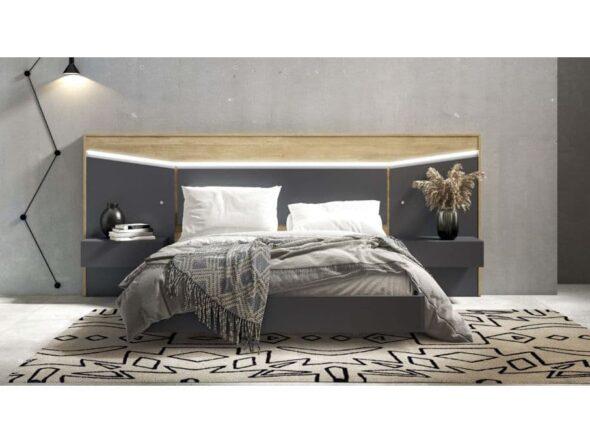 Dormitorio con leds y mesitas colgadas