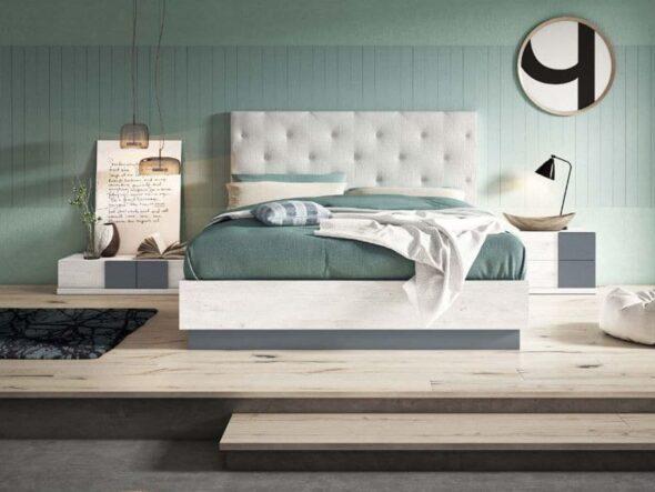 Dormitorio con cabezal tapizado Viena 24