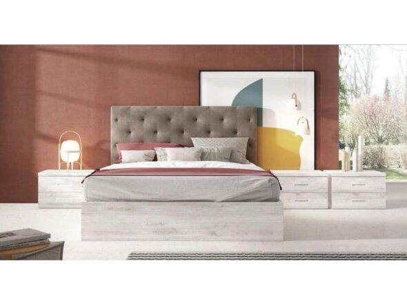 Dormitorio con canapé y cabezal tapizado