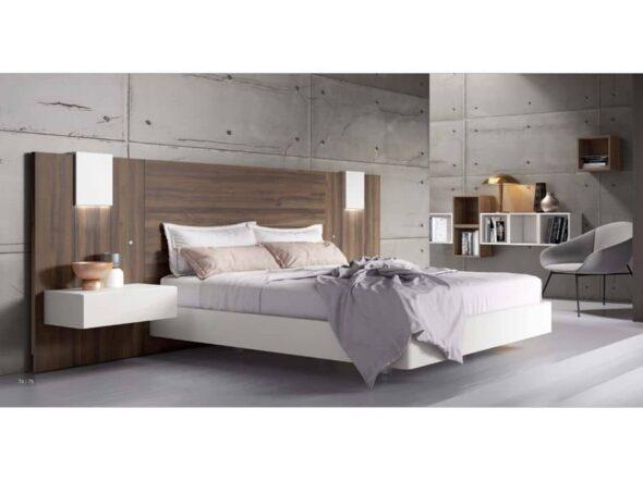 Dormitorio con cabezal y mesitas colgadas