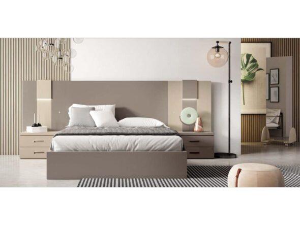 Dormitorio lacado en café y volcan / arena y tortora