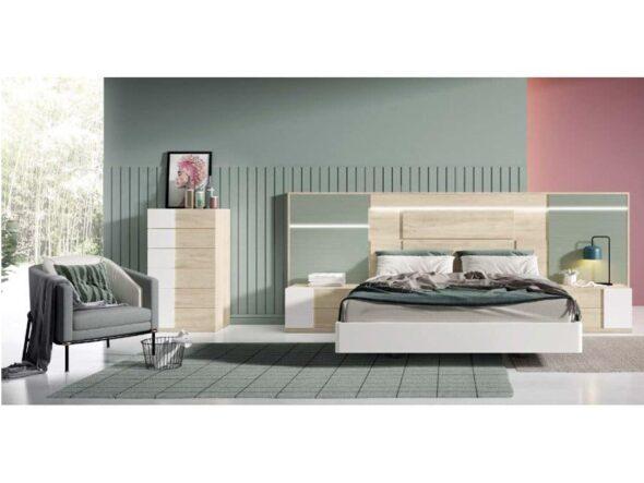 Dormitorio moderno con cabezal con leds detalles en verde