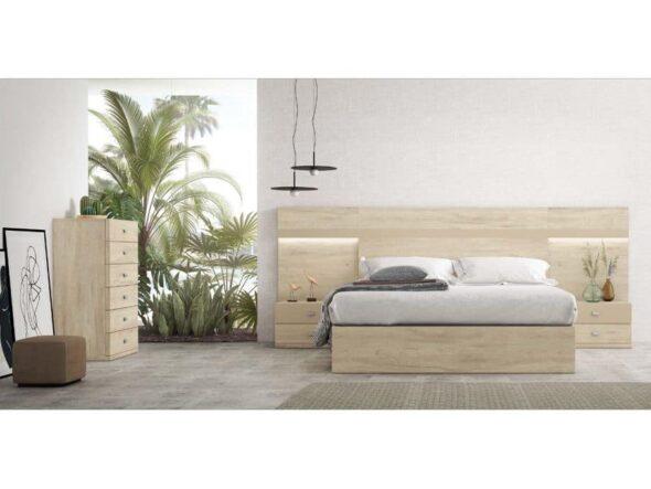 Dormitorio claro con cabezal con leds