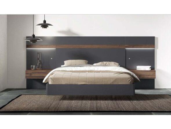 Dormitorio en nogal y grafito con mesitas colgadas
