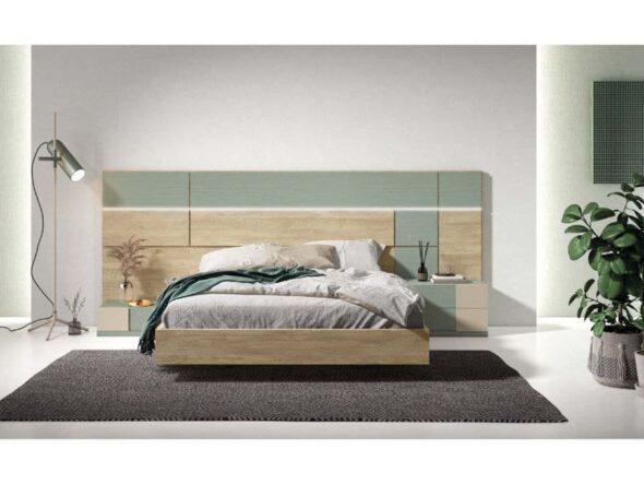 Dormitorio con cabezal en roble y verde Viena 41