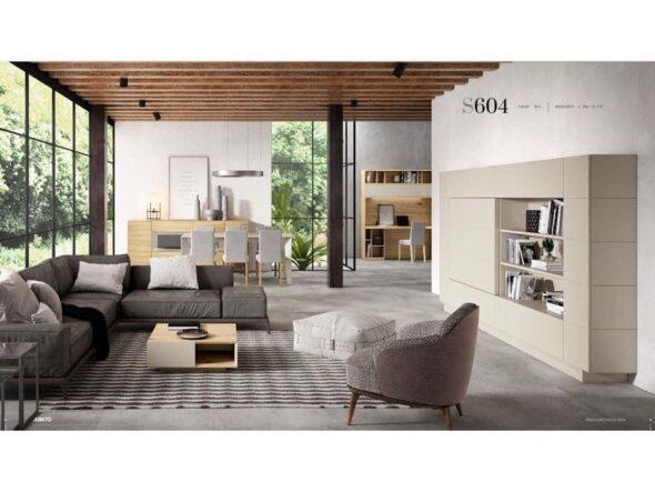 Mueble de tv y estantería con puerta desplazable