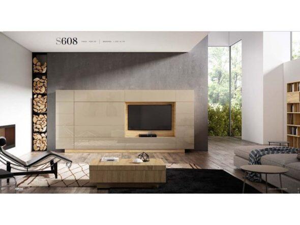 Composición de salón con frentes lacado brillo arena