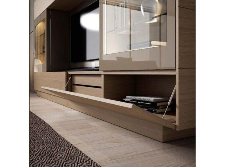 Mueble de tv con puerta abatible y dos cajones interiores